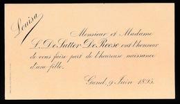 MONSIEUR ET MADAME L.DE SUTTER - DE ROOSE / UNE FILLE   GENT 1895  LOUISA - Naissance & Baptême