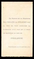 ADEL NOBLESSE - LE BARON ET LA BARONNE  GUY GILLES DE PELICHY  : UN FILS  PHILIPPE - VARSENARE 1947 - Naissance & Baptême
