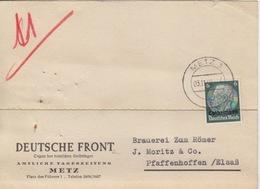Carte-lettre à Entête (Deutsche Front) De Metz (T326 Metz 3l) TP Loth 6pg Le 23/11/40 Pour Pfaffenhoffen - Marcophilie (Lettres)
