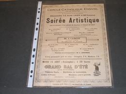 ENSIVAL - CERCLE CATHOLIQUE - 13/8/1933 - SOIREE ARTISTIQUE - 15/08 GRAND BAL D'ETE - AFFICHE - Programs