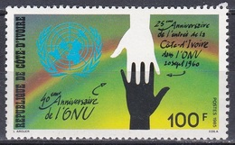 Elfenbeinküste Ivory Coast Cote D'Ivoire 1985 Organisationen Vereinte Nationen UNO ONU Hände, Mi. 877 ** - Côte D'Ivoire (1960-...)