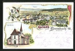 Lithographie Brombach I. M., Kath. Kirche, Ortsansicht Mit Blick Ins Land - Deutschland
