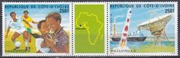 Elfenbeinküste Ivory Coast Cote D'Ivoire 1985 Philatelie PHILEXAFRIQUE Rakekten Rockets Fußball Schiffe, Mi. 878-9 ** - Côte D'Ivoire (1960-...)