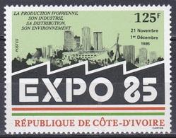 Elfenbeinküste Ivory Coast Cote D'Ivoire 1985 Ausstellung EXPO Industrie Industry Wirtschaft Abidjan Skyline, Mi. 880 ** - Côte D'Ivoire (1960-...)