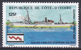 Elfenbeinküste Ivory Coast Cote D'Ivoire 1986 Transport Schiffe Ships Kabelleger Philatelie Philately, Mi. 912 ** - Côte D'Ivoire (1960-...)