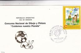 """CONCURSO NACIONAL DE DIBUJO Y PINTURA """"CUIDEMOS NUESTRO PLANETA"""". FDC 1994 BUENOS AIRES, ARGENTINA - BLEUP - Environment & Climate Protection"""