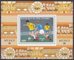 Elfenbeinküste Ivory Coast Cote D'Ivoire 1986 Sport Fußball Football Soccer Mexiko Mexico WM, Bl. 28 ** - Côte D'Ivoire (1960-...)