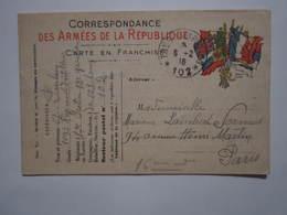 1916 Correspondance Des Armées De La République 109e Régiment Artillerie Cachet Militaire TRÉSOR ET POSTES 102 - Guerra 1914-18