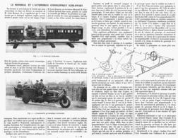 """LE MONORAIL Et L'AUTOMOBILE GYROSCOPIQUE """" SCHILOWSKY """"   1914 - Transport"""