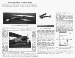 "LE BIPLAN  "" PAUL SCHMITT  "" à INCIDENCE VARIABLE  1914 - Transportation"