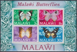 Malawi 1973 Tiere Fauna Animals Schmetterlinge Butterflies Papillion Mariposa Farfalle Insekten Insects, Bl. 30 ** - Malawi (1964-...)