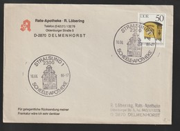 H 35) DDR 1986 SSt Stralsund: Scheele-Apotheke (Gebäude Architektur) - Lettres & Documents