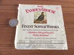 Etiquette Ecosse Type 2 «FINEST SCOTCH WHISKY - THE FAMOUS GROUSE - Matthew Gloag & Son - Perth» (oiseau) - Whisky