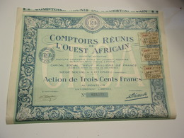 COMPTOIRS REUNIS DE L'OUEST AFRICAIN (300 Francs) Cotonou DAHOMEY - Shareholdings