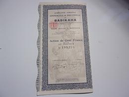 Compagnie Agricole,commerciale & Industrielle De BADIKAHA (100 Francs) Cote D'ivoire - Actions & Titres