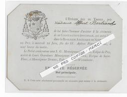 43 - LE PUY - Consécration Episcopale - Place Réservée - Evèque De TROYES - - Faire-part