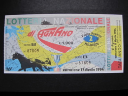 BIGLIETTO LOTTERIA AGNANO 1994 - COMPLETO DI TAGLIANDO FDS - Biglietti Della Lotteria