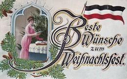 AK Beste Wünsche Zum Weihnachtsfest - Frau Mit Weihnachtsbaum - Fahne - Patriotika - 1915 (38469) - Christmas