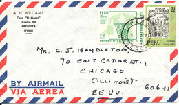 Peru Air Mail Cover Sent To USA Topic Stamps Incl. MAP - Peru