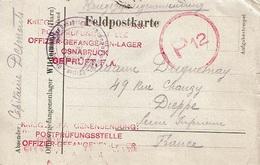 "Feldpostkarte ""Capitaine DESMOUTS"" De OSNABRUCK (HARZ) à DIEPPE (France) - Poststempel (Briefe)"