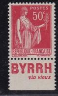 PUBLICITE: TYPE PAIX 50C ROUGE BYRRH-vin Vieux ACCP 749 NEUF** - Advertising