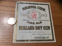Etiquette Pays-Bas «HOLLAND DRY GIN - BRISTOL CLUB - A. BERKELAAR & SON - Schiedam » (oiseau) - Otros