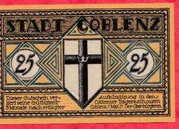 Allemagne 1 Notgeld De 25 Pfenning Stadt Coblenz Dans L 'état  N °2420 - [ 3] 1918-1933 : République De Weimar