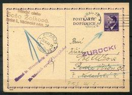4335 - BÖHMEN & MÄHREN - Ganzsache P15 Ab Prag 25 (30.6.44)  > Wrschowitz Und Zurück - Covers & Documents