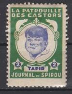 Journal De Spirou. Timbre Représentant  La Patrouille Des Castors. Tapir, D'une Valeur De ? 2 ?. Original !!! - Fantasie Vignetten