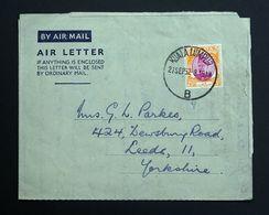 Malaya 1952 Air Mail Air Letter Cover, Kuala Lumpur Postmark. - Federation Of Malaya