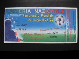 BIGLIETTO LOTTERIA MONDIALE CALCIO USA 94 1994 - COMPLETO DI TAGLIANDO FDS - Biglietti Della Lotteria