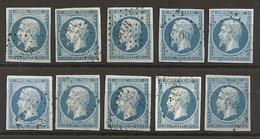 FRANCE - N° 14A - 20 CENTIMES BLEU Oblitérés - 10 Exemplaires Choisis - 1853-1860 Napoléon III.