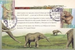 MAMIFEROS DEL CENOZOICO. FDC 2001 ITUZAINGO. TIMBRE:MACRAUQUENIA, TOXODONTE, ARGENTINA - BLEUP - Sellos