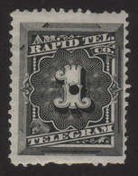 US, Rapid Tel. Co. 1c, Telegram Stamp, MH Punched, Sc 1T1 - Telegraph Stamps