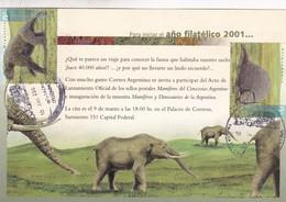MAMIFEROS DEL CENOZOICO. FDC 2001 ITUZAINGO. TIMBRE:GLIPTODONTE; MEGATERIO, ARGENTINA - BLEUP - Sellos