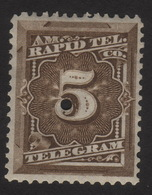 US, Rapid Tel. Co. 5c, Telegram Stamp, MH Punched, Sc 1T3 - Telegraph Stamps