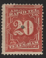 US, Rapid Tel. Co. 20c, Telegram Stamp, MH Punched, Sc 1T6 - Telegraph Stamps