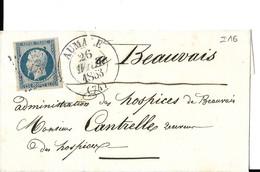 Seine Inferieure76.LSC Càd Type13du 26 Avril1853 De Aumale. PC Sur N° 10-Indice 16 - 1853-1860 Napoléon III