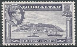 Gibraltar. 1938-51 KGVI. 1½d Grey MH. SG123b - Gibraltar