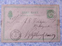 Denmark 1891 Stationery Postcard Skanderborg To Nykjobing - Arms Lions - 1864-04 (Christian IX)