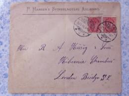 Denmark 1896 Cover Aalborg To London Bridge - Arms Lions - 1864-04 (Christian IX)