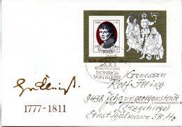 """DDR Schmuck-FDC Mi Block 51 """"200.Geburtstag Von Heinrich Von Kleist"""", ESSt BERLIN, 18.10.1977 - DDR"""