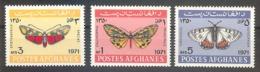 AFGHANISTAN  Butterflies Set 3 Stamps  MNH - Butterflies