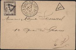 Enveloppe Non Affranchie YT Taxe 29 Obl Triangle + T Ds Triangle CAD Paris 103 R Des Filles Du Calvaire 8h 12 Oct 97 - 1877-1920: Periodo Semi Moderno