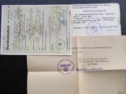 FAHRKARTE DURCHLASSSCHEIN BESTÄTTIGUNG Dienstauftrag 1943 Böhmen Und Mähren RRR!  ///  D*36058 - Bahn