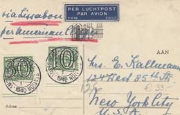 Airmail Card Netherland 1940 To USA Via Lissabon By Clipper - 1891-1948 (Wilhelmine)