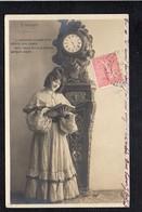 """Femme Chica Frau Lady Girl / Portrait Jeune Fille à L'horloge /  Issue D'une Série Art / K  """" 5 Heures """" - Femmes"""