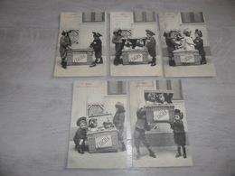 Enfants ( 2305 )  Enfant  Fillette  - Serie Complet De 5 Cartes Postales Genre Bergeret : Fragile - Enfants