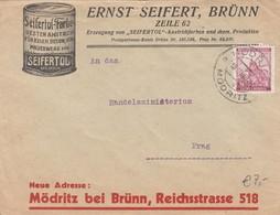 Reklame Brief Bohemia And Moravia 1940 To Prag - Böhmen Und Mähren