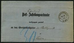 PREUSSEN 1882, NACHVERWEND. K2 SCHWETZKAU AUF ZUSTELLUNGSURKUNDE MIT R3 LISSA - Preussen